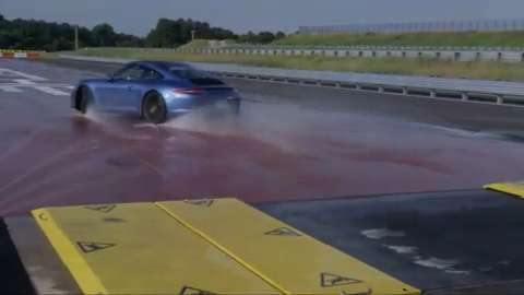 Buyers can learn to control their Porsches on wet surfaces and varied road conditions on this special track.  A personal instructor is provided, too.