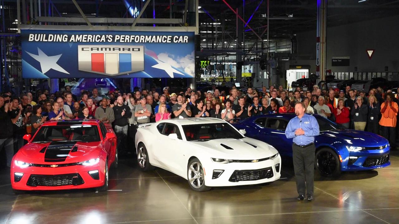 General Motors holds a press conference announcing the news 2016 Gen Six Camaros are coming down off the line and should hit dealerships by mid-November.