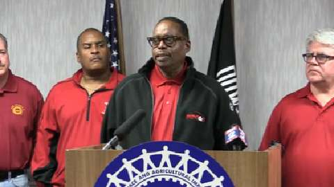 James Settles, VP of UAW and Bernie Ricke, President of U.A.W. Local 600 hold a press conference on the progress with the proposed 2015 UAW-Ford contract to its membership.