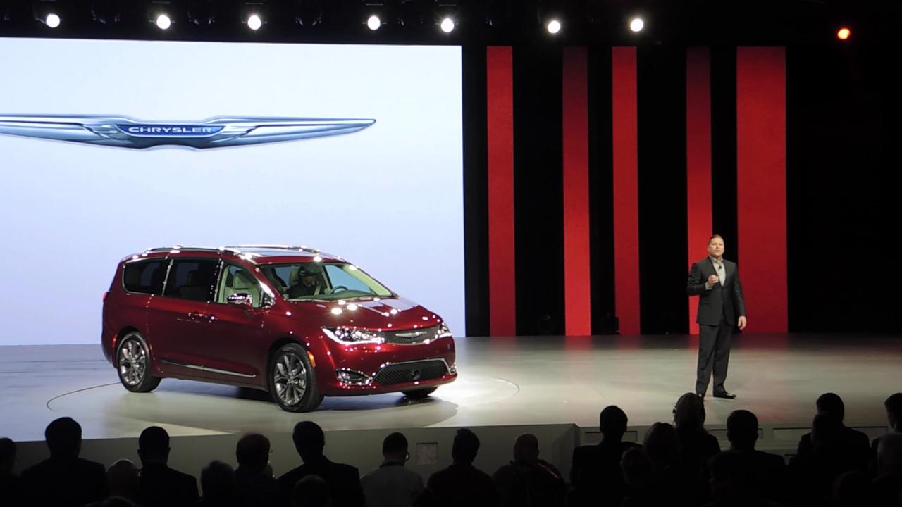 Tim Kuniskis, Head of Passenger Car Brands, FCA, reveals the 2017 Chrysler Pacifica and Pacifica Hybrid at Cobo Center.
