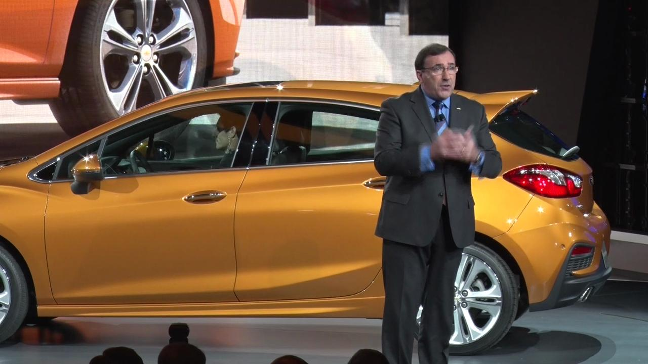 Alan Batey, executive president and VP of GM North America, introduces the Chevy Cruze hatchback.