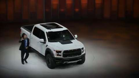 The updated F-150 Raptor and Fusion are presented during the 2016 North American International Auto Show.