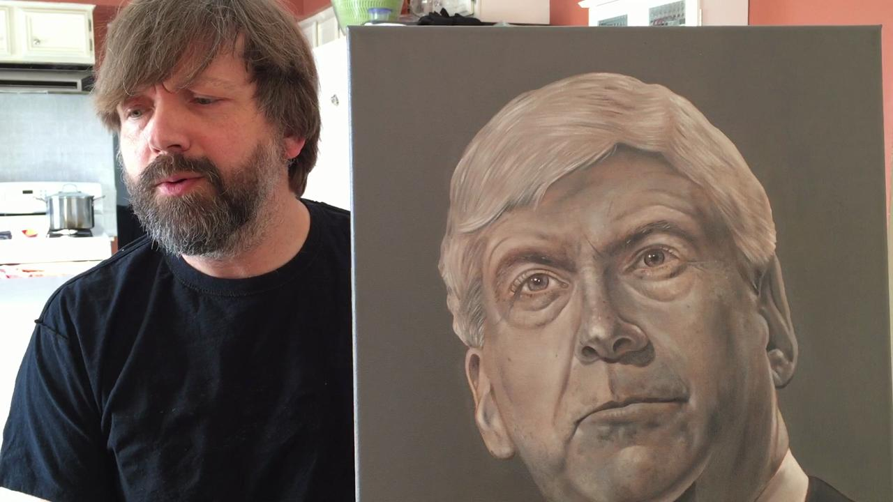 Neal Rubin talks to artist Michael Dykehouse about his painting of Gov. Rick Snyder, done with lead paint as a statement about the condition of children affected by tainted water in Flint.