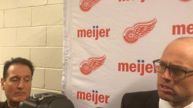 Wings' Coach Blashill, Zetterberg, and Mrazek on their victory over the Islanders