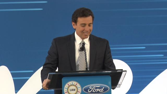 Mark Fields, President & CEO, Ford Motor Co., details seven of 13 new global electrified and autonomous vehicles coming in the next five years, including the F-150 Hybrid, Mustang Hybrid and Transit Custom plug-in hybrid.