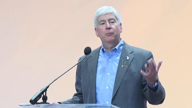 Gov. Rick Snyder speaks at AutoMobili-D
