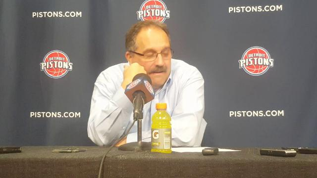Pistons coach Stan Van Gundy talks to the media after the win over the 76ers.