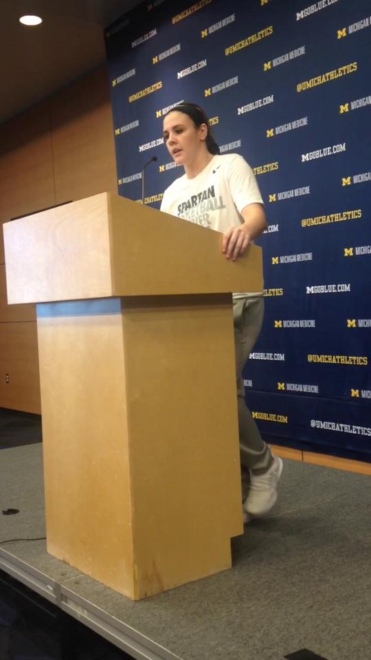 Tori Jankoska talking about Michigan State's women's basketball win over Michigan.