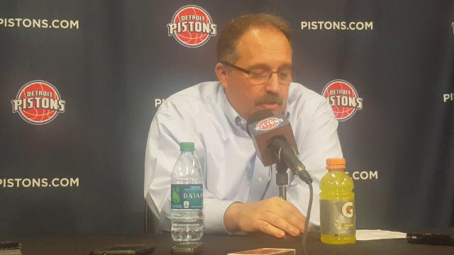 Pistons coach Stan Van Gundy addresses the media after the win over the Timberwolves.