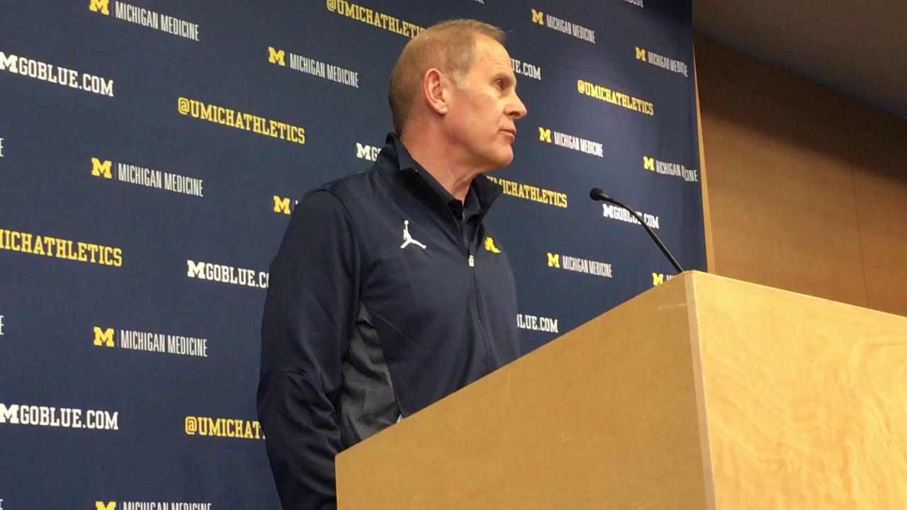 Michigan coach talks about what he learned after watching film from team's loss at Michigan State.