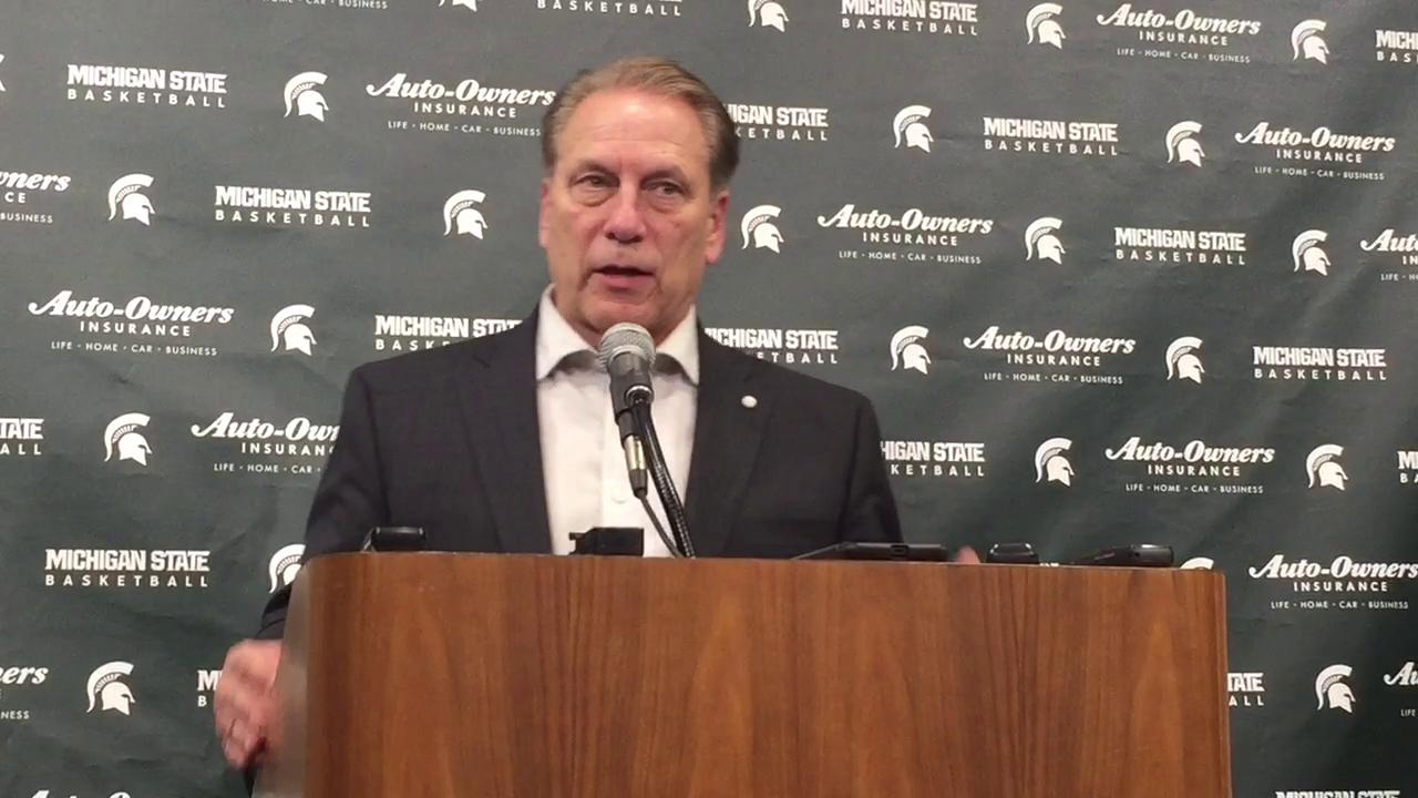 Michigan State coach Tom Izzo met the media following a victory over Iowa on Saturday at Breslin Center.