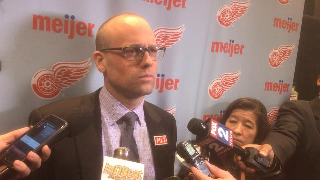 Red Wings coach talks about 2-0 loss to Blues, which included seven giveaways in the first period.