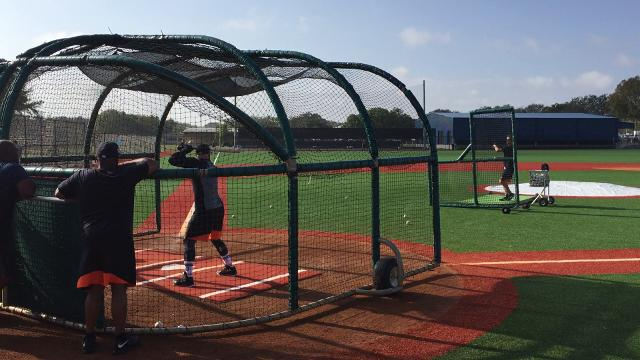 Tigers outfielder Tyler Collins takes batting practice during spring training in Lakeland, Florida.