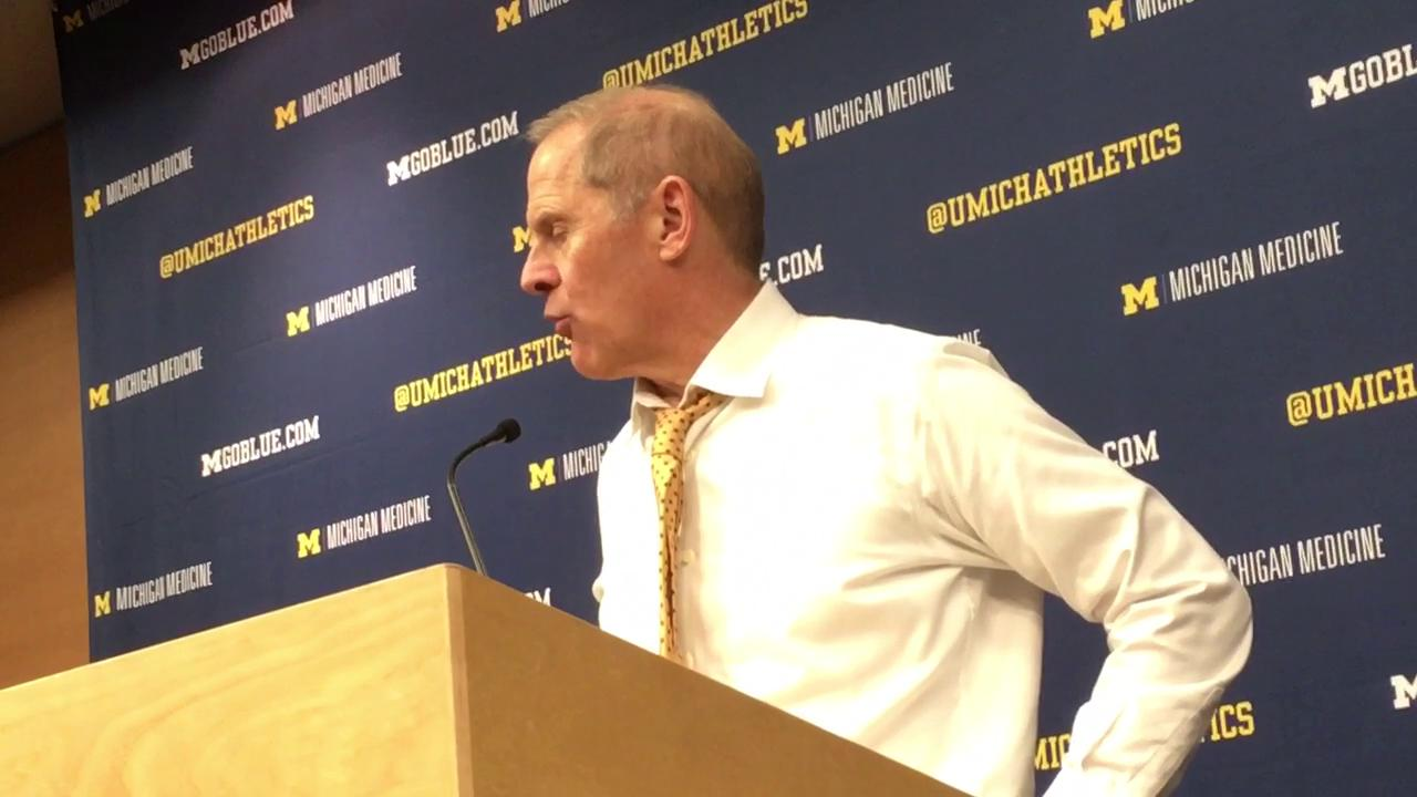 Michigan coach talks about team's performance in Saturday's 70-66 loss.