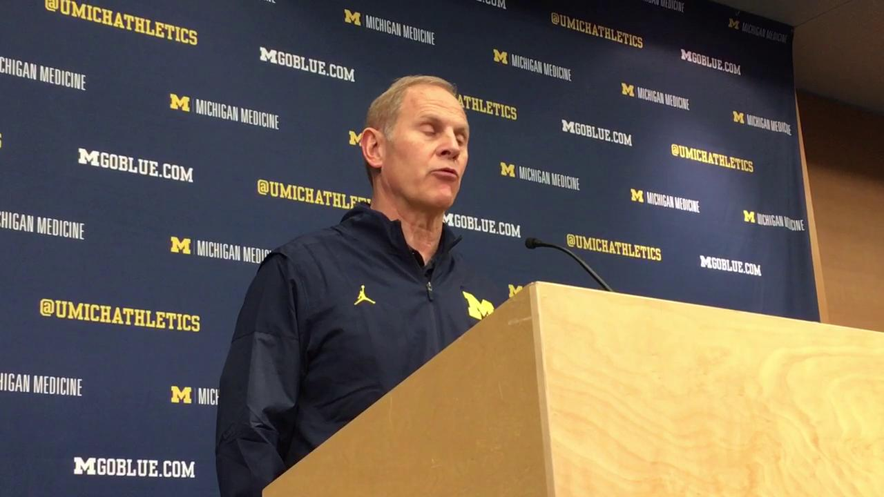 Michigan coach talks about team's upcoming road game against the Scarlet Knights.