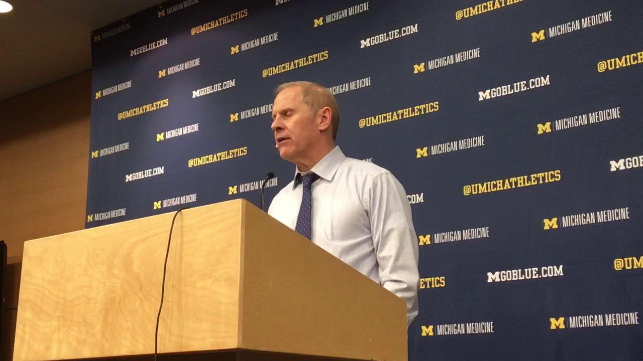Michigan coach talks about senior forward getting back on track with an 18-point performance in Thursday's 64-58 win.