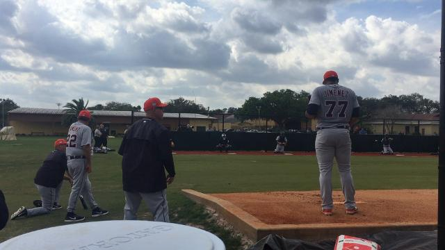 Hard-throwing Tigers prospect Joe Jimenez turns it loose during spring training in Lakeland, Florida.