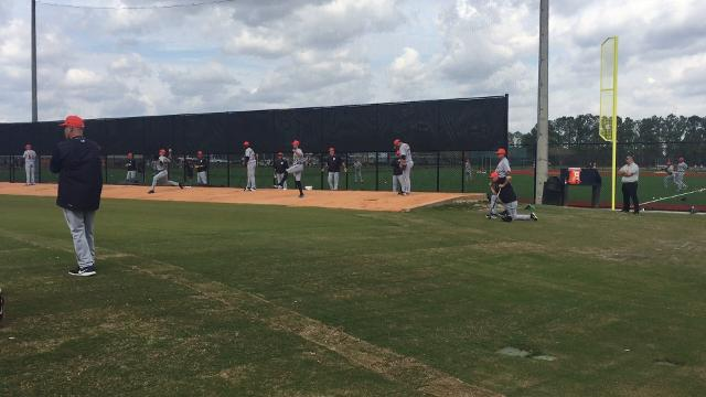 Tigers pitchers Joe Jimenez and Daniel Norris throw bullpen sessions at spring training in Lakeland, Florida.