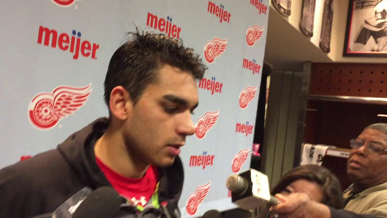 Andreas Athanasiou on the Red Wings' inability to convert on two key third-period power plays Sunday.