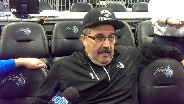 Pistons coach Stan Van Gundy met the media Friday before a night game against the Orlando Magic.