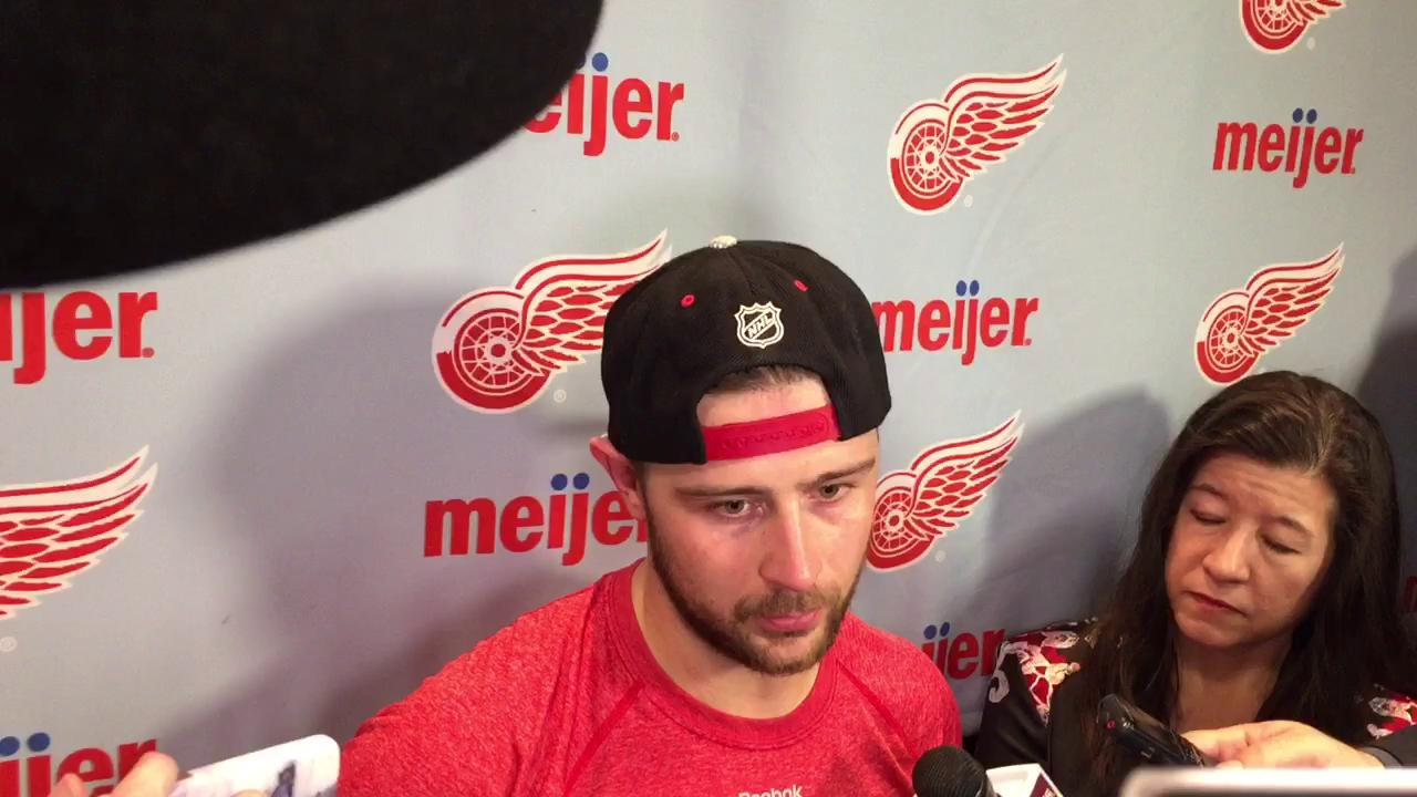 Tomas Tatar on his two third-period goals in Saturday's victory over Colorado.