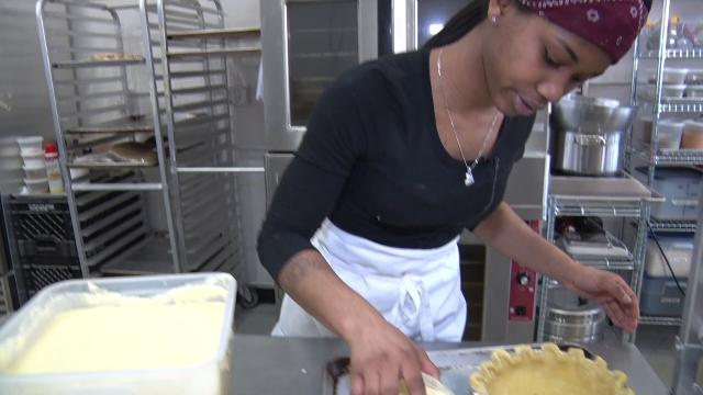 Tianna Bogan, 21, baker, went from dishwasher to baker in 8 months. She demonstrates on how to make a Honey Lemon Meringue pie.