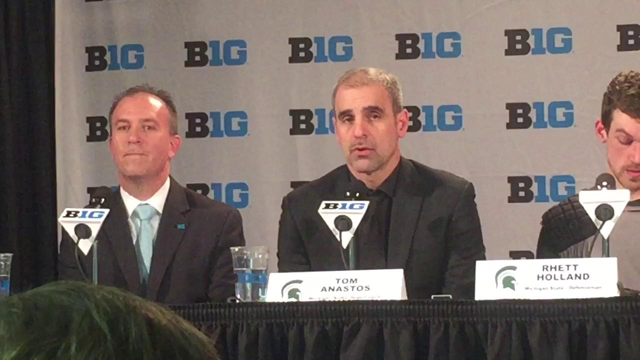 Michigan State hockey coach Tom Anastos talks about his team's 6-3 loss to Ohio State in the Big Ten quarterfinals on Thursday.