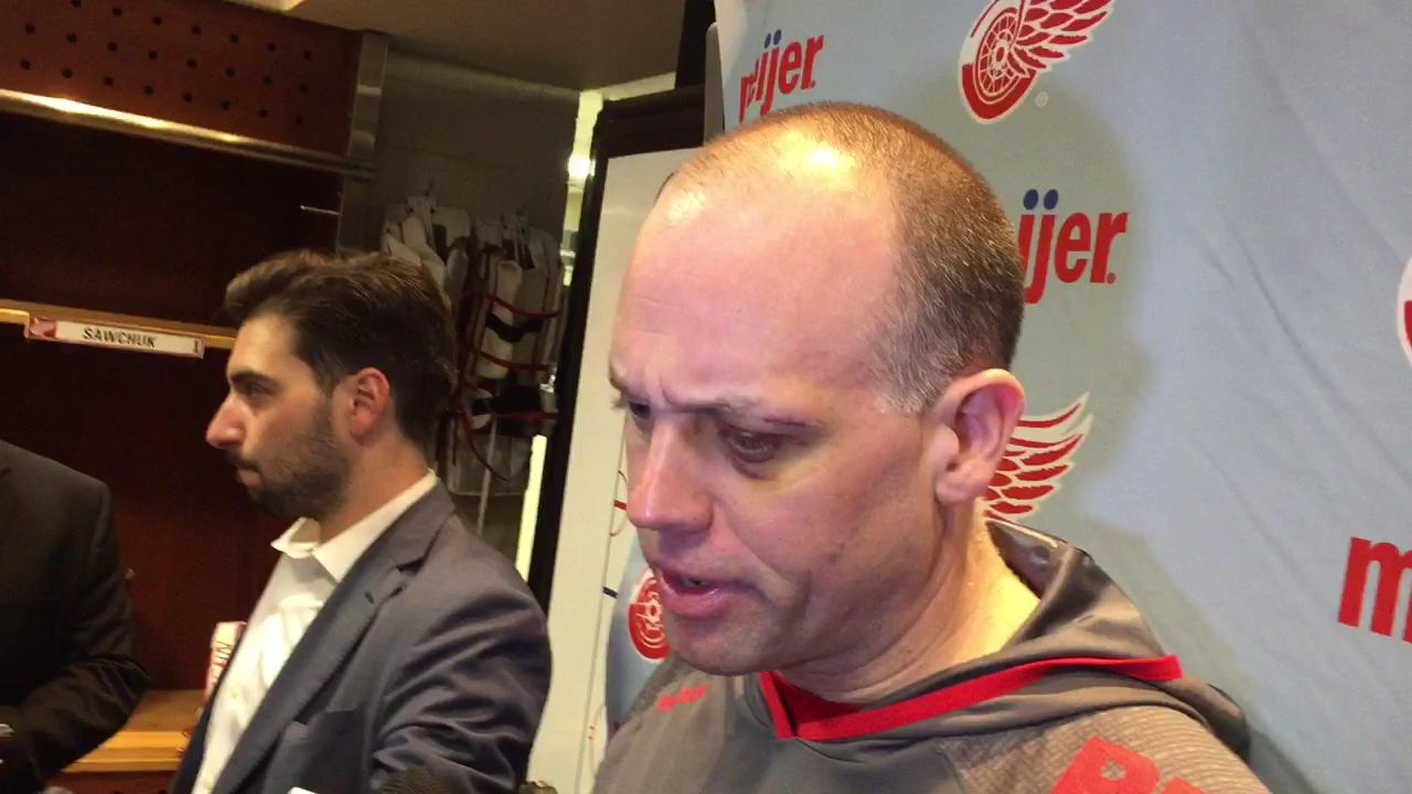 Coach Jeff Blashill on scratching Anthony Mantha out of Friday's lineup.