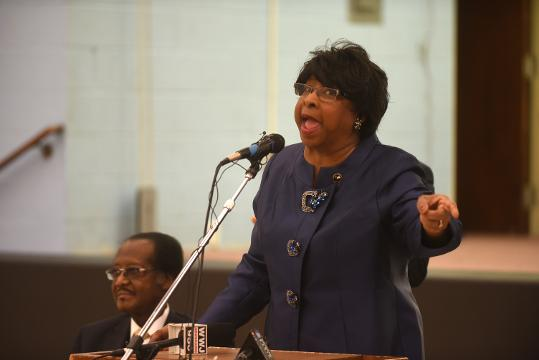 Reverend Dr. Deedee Coleman speaks during a Detroit Water Coalition press conference on Tuesday February 28, 2017 at the New St. Paul Tabernacle Church of God in Christ.
