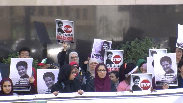 Supporters of Rasmea Odeh make their voices heard  outside the Theodore Levin U.S. Courthouse in Detroit .