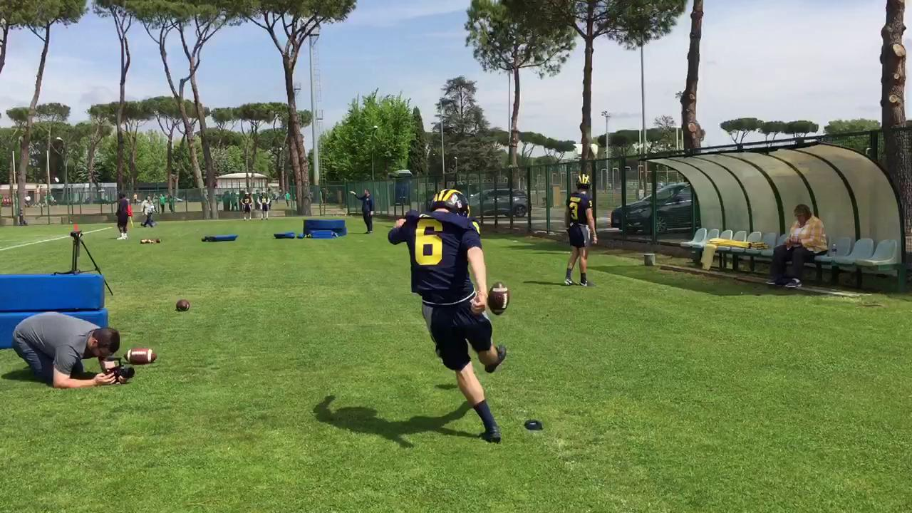 Michigan kickers in practice on Thursday in Rome.