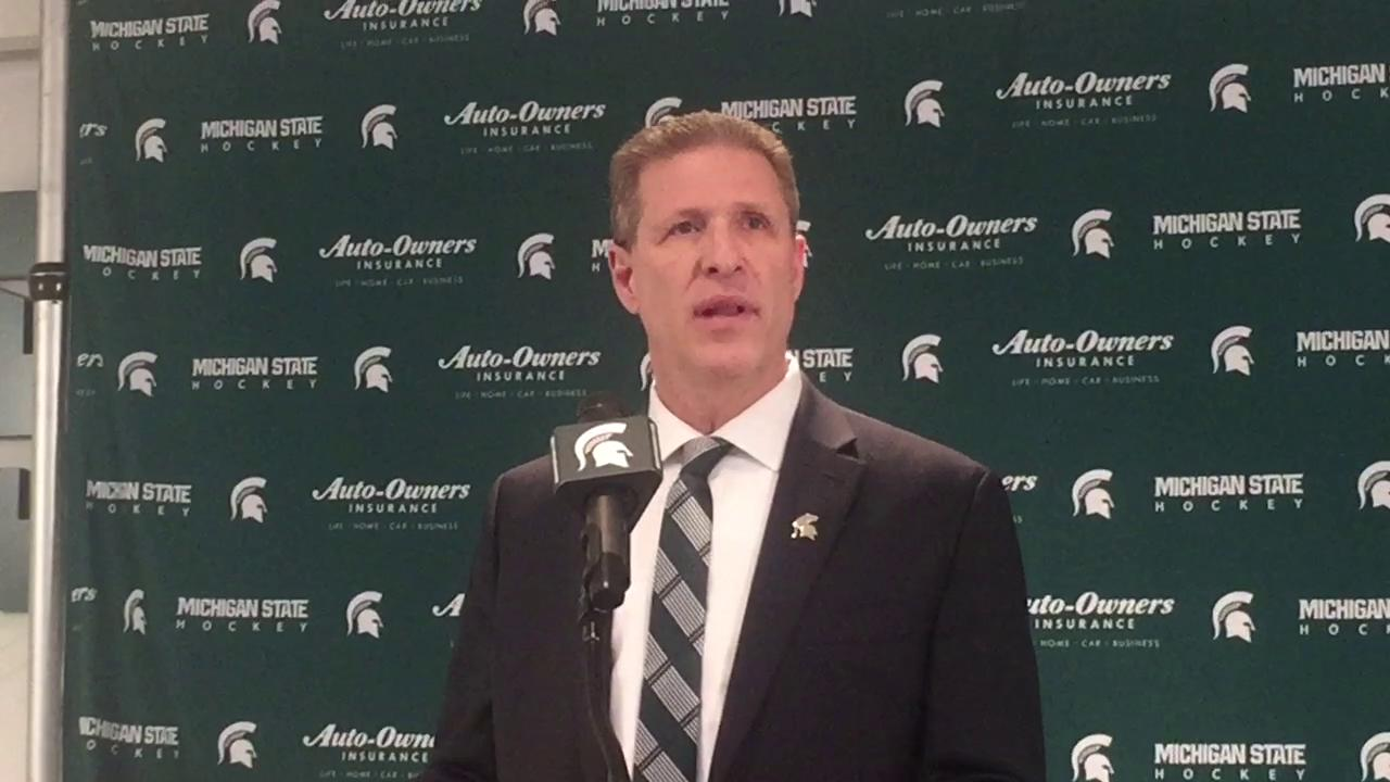 Danton Cole speaks at Tuesday's press conference about what it means to return to Michigan State and take over the men's hockey team.