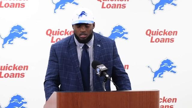 The Detroit Lions introduced the 21st overall pick of the NFL Draft, Florida linebacker Jarrad Davis during a press conference in Allen Park, Mich.