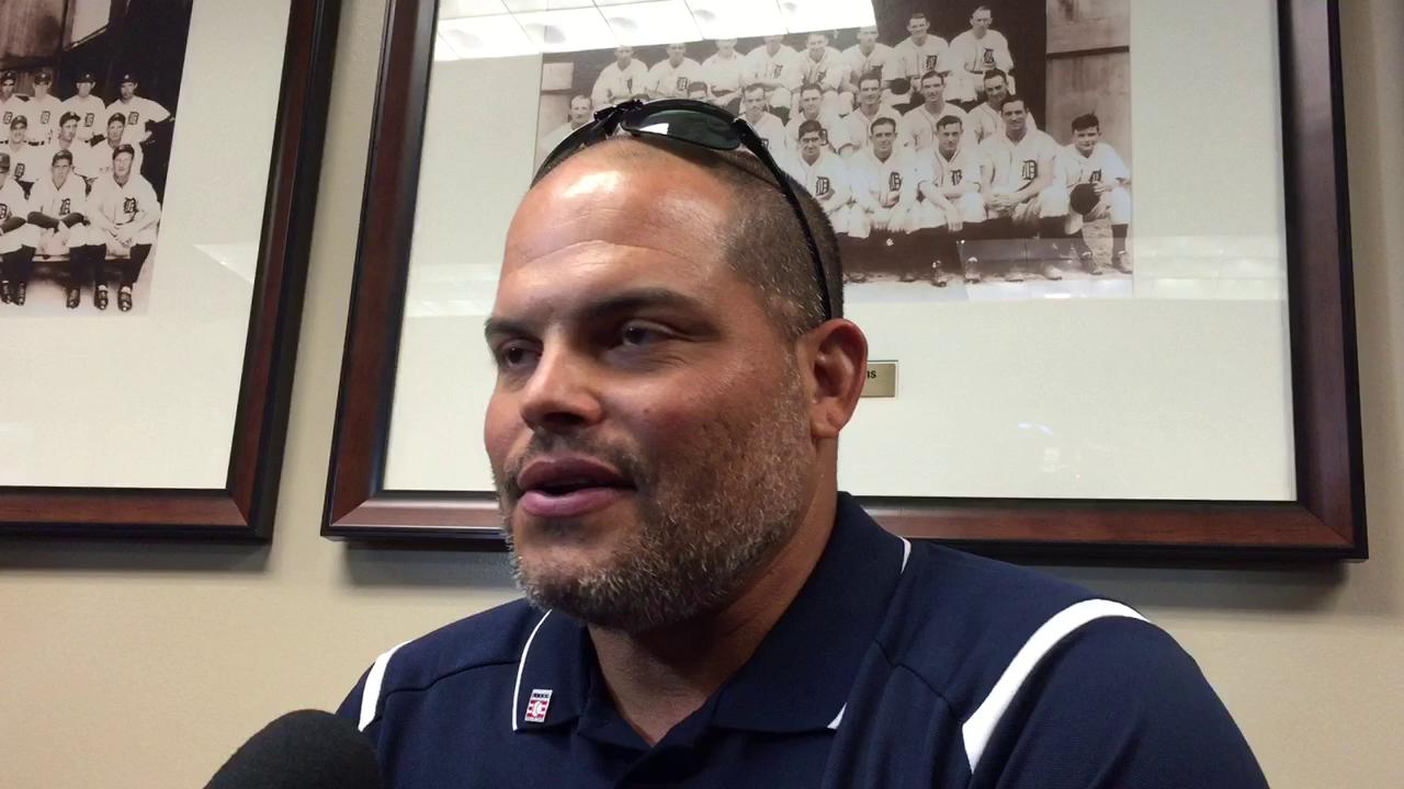New Hall-of-Famer Pudge Rodriguez met the media after throwing out the first pitch at the Tigers' home opener Friday.