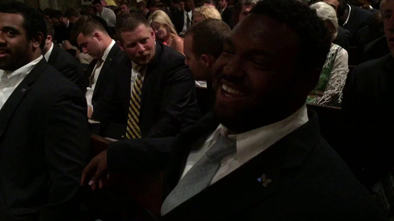 Defensive lineman Maurice Hurst shares his opera ability (or lack of) prior to taking in a show at St. Paul's Within the Walls in Rome on Thursday.