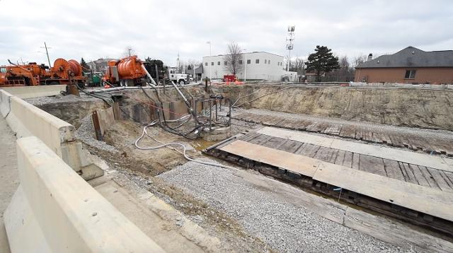 Macomb County Public Works Commissioner Candice Miller talks about work on the collapsed 15 Mile Road Sewer Interceptor.
