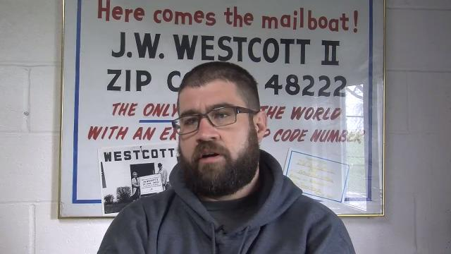Senior Captain Ryan Gazdecki of the J.W. Westcott II mail boat describes his role in the rescue of a pregnant woman after she fell into the Detroit River at Riverside Park in Detroit on April 20, 2017.