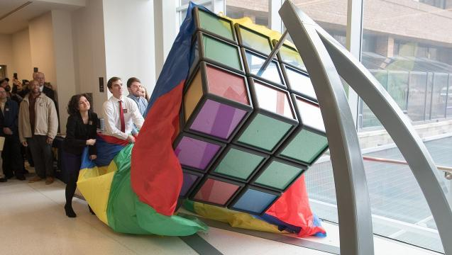 Engineering students worked on the 1,500 pound, solvable Rubik's Cube for two years before it was unveiled on the University of Michigan's North Campus Thursday, April 13, 2017.