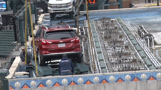Ron Colangelo, VP Communications, Detroit Tigers, talks about the traditional of installing Chevrolet vehicles on the Comerica Park's fountain.