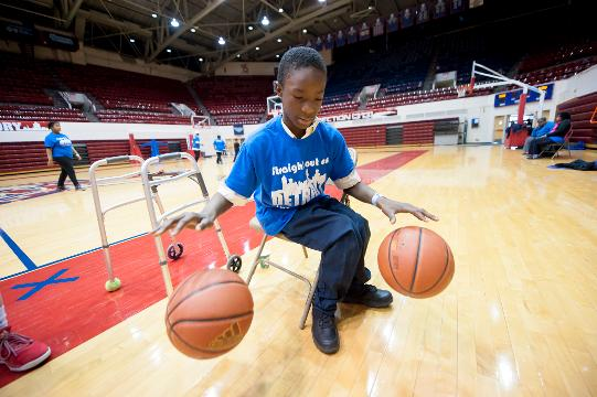 University of Detroit Mercy hosts 80 Detroit Public School special needs athletes at its campus athletic facilities on Thursday, April 13, 2017.