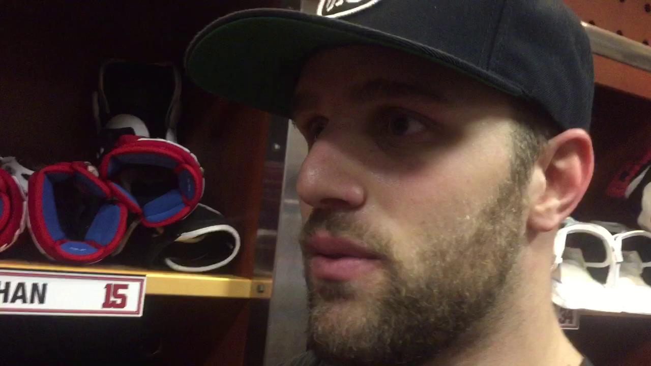 Riley Sheahan talks about his first two goals of the season in Sunday's win in the Joe Louis Arena finale.