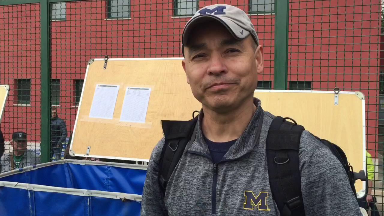 Michigan fan at practice