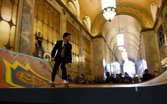 Fisher Building becomes home to a halfpipe for BMX riders and skaters.