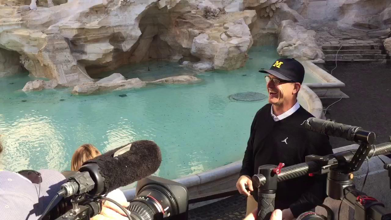 Harbaugh tosses coins in the Trevi Fountain and wishes for ... a championship.