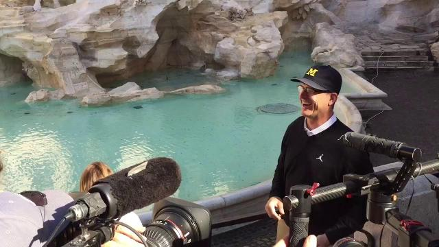 Harbaugh talks about the Trevi Fountain
