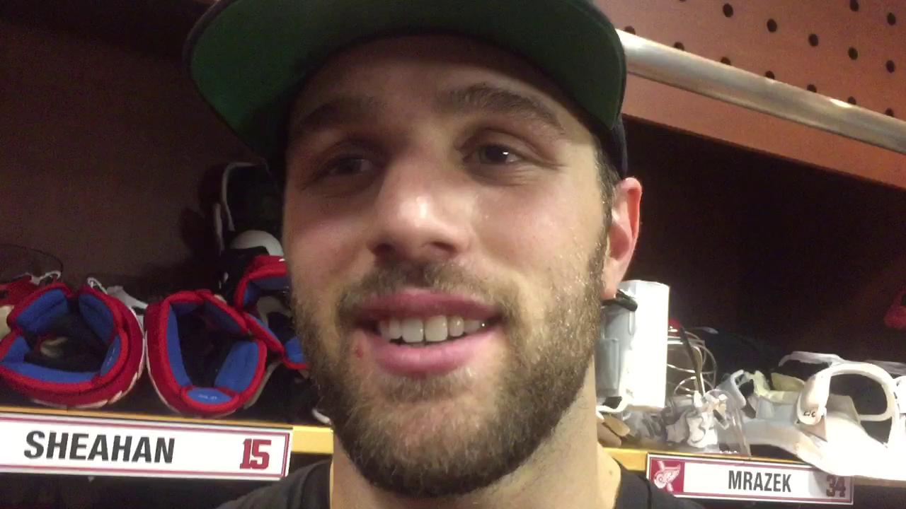 Riley Sheahan talks about the encouragement he received from fans before Sunday's game.