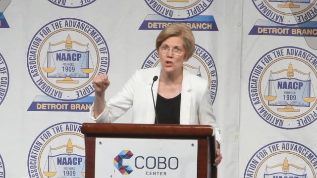 The senator from Massachusetts was the keynote speaker for the 62nd annual Fight For Freedom Fund dinner at Cobo Hall