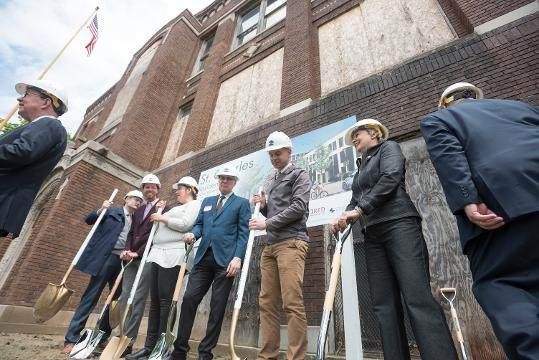 The former St. Charles school renovation will convert the 100-year-old building into dozens of new residences