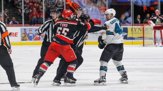 Left wing Eric Tangradi scored a goal and two assists in a 6-2 win over the San Jose Barracuda. The Griffins can close out their AHL Western Conference final Saturday in Grand Rapids.