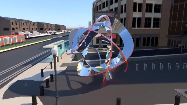 Animation:  Future sculpture outside Little Caesars Arena